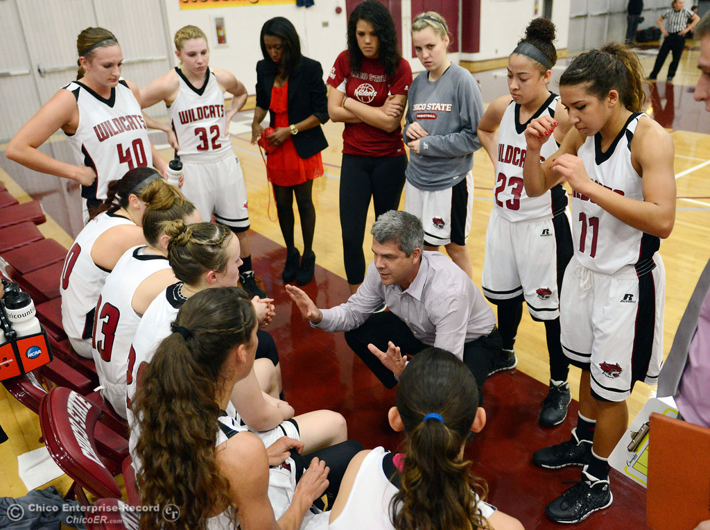 Description of . Chico State head coach Brian Fogel (center) tells the team they're still in the game against UC San Diego in the first half of their women's basketball game at CSUC Acker Gym Friday, February 7, 2014 in Chico, Calif.  (Jason Halley/Chico Enterprise-Record)