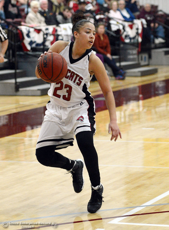 Description of . Chico State's #23 Jazmine Miller dribbles against UC San Diego in the second half of their women's basketball game at CSUC Acker Gym Friday, February 7, 2014 in Chico, Calif.  (Jason Halley/Chico Enterprise-Record)