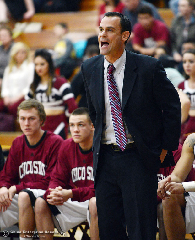 Description of . Chico State coach Greg Clink looks on against Sonoma State in the second half of their men's basketball game at CSUC Acker Gym Friday January 31, 2014 in Chico, Calif. (Jason Halley/Chico Enterprise-Record)