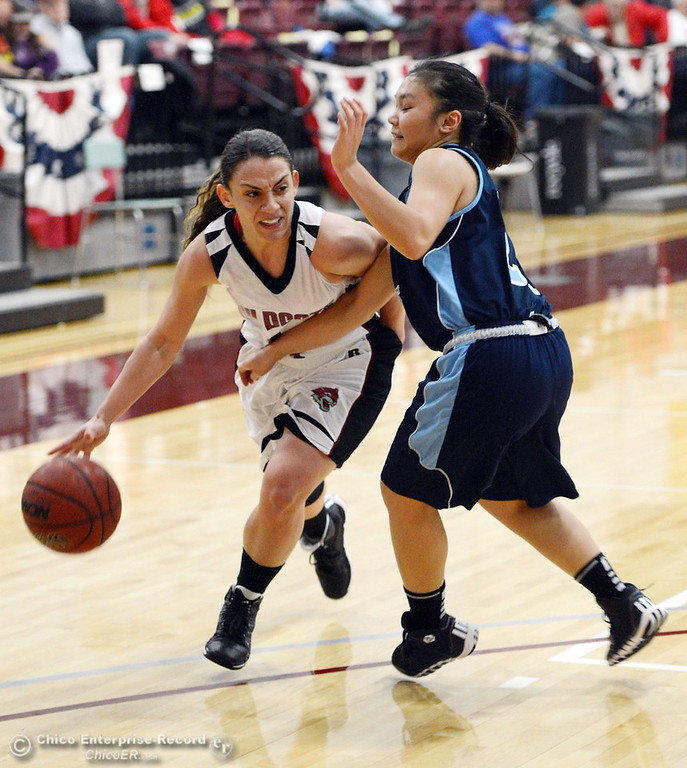 Description of . Chico State\'s #4 Sarah Rebibo (left) dribbles against Sonoma State\'s #21 Famh Fong (right) in the second half of their women\'s basketball game at CSUC Acker Gym Friday January 31, 2014 in Chico, Calif. (Jason Halley/Chico Enterprise-Record)