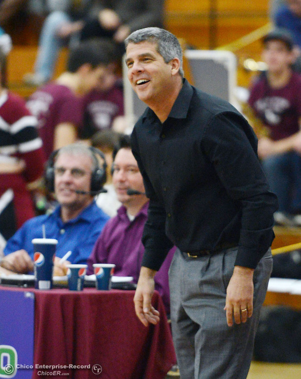 Description of . Chico State head coach Brian Fogel reacts to a call against Sonoma State in the second half of their women\'s basketball game at CSUC Acker Gym Friday January 31, 2014 in Chico, Calif. (Jason Halley/Chico Enterprise-Record)
