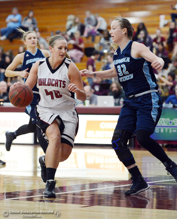 Description of . Chico State\'s #40 Analise Riezebos (left) dribbles against Sonoma State\'s #32 Hannah Sourek (right) in the second half of their women\'s basketball game at CSUC Acker Gym Friday January 31, 2014 in Chico, Calif. (Jason Halley/Chico Enterprise-Record)