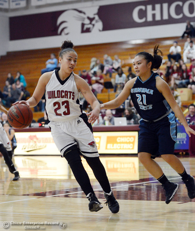 Description of . Chico State\'s #23 Jazmine Miller (left) dribbles against Sonoma State\'s #21 Famh Fong (right) in the second half of their women\'s basketball game at CSUC Acker Gym Friday January 31, 2014 in Chico, Calif. (Jason Halley/Chico Enterprise-Record)