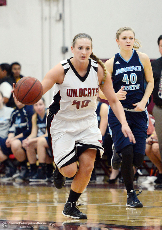 Description of . Chico State\'s #40 Analise Riezebos (left) dribbles against Sonoma State\'s #40 Kristina Fahey (right) in the second half of their women\'s basketball game at CSUC Acker Gym Friday January 31, 2014 in Chico, Calif. (Jason Halley/Chico Enterprise-Record)