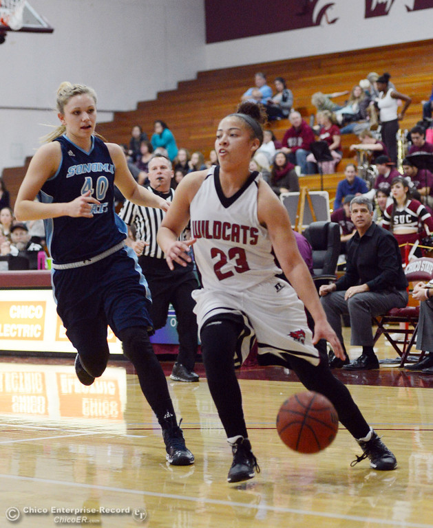 Description of . Chico State\'s #23 Jazmine Miller (right) dribbles against Sonoma State\'s #40 Kristina Fahey (left) in the second half of their women\'s basketball game at CSUC Acker Gym Friday January 31, 2014 in Chico, Calif. (Jason Halley/Chico Enterprise-Record)