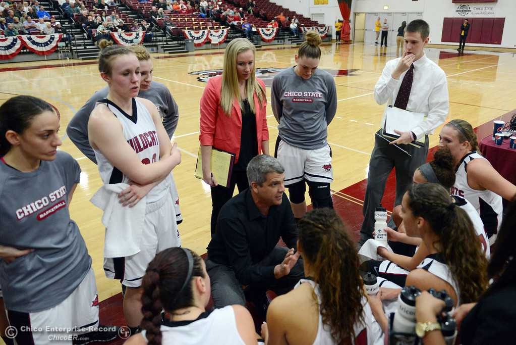 Description of . Chico State head coach Brian Fogel (center) talks to the team in a timeout against Sonoma State in the second half of their women\'s basketball game at CSUC Acker Gym Friday January 31, 2014 in Chico, Calif. (Jason Halley/Chico Enterprise-Record)