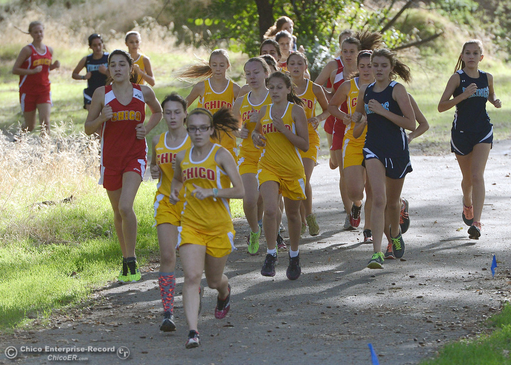 Description of . Chico High's Alyson Lacko (front) leads the pack against Pleasant Valley High varsity girls cross country race at Hooker Oak Wednesday, October 2, 2013, in Chico, Calif.  (Jason Halley/Chico Enterprise-Record)