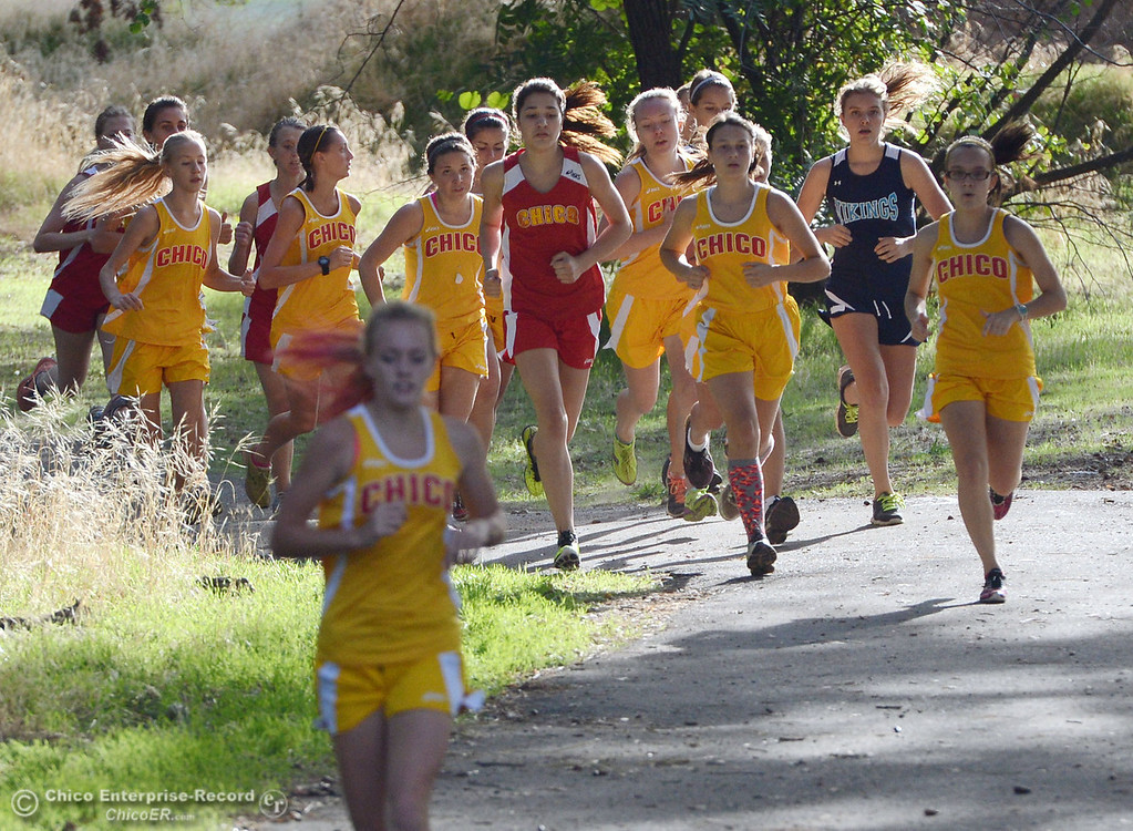 Description of . Chico High against Pleasant Valley High varsity girls cross country race at Hooker Oak Wednesday, October 2, 2013, in Chico, Calif.  (Jason Halley/Chico Enterprise-Record)