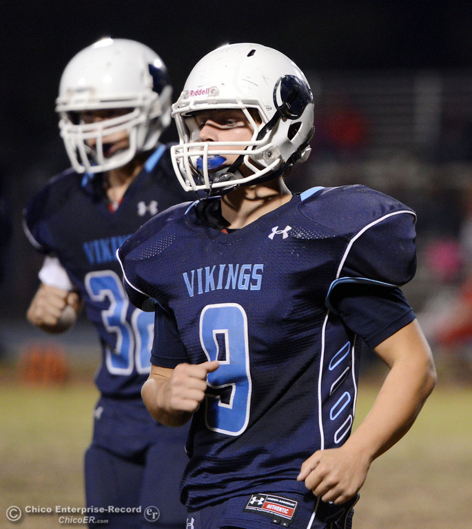 Description of . Pleasant Valley High\'s #9 Houston McGowan comes off the field against Foothill High in the second quarter of their football game at PVHS Asgard Yard Friday, October 11, 2013 in Chico, Calif.  (Jason Halley/Chico Enterprise-Record)