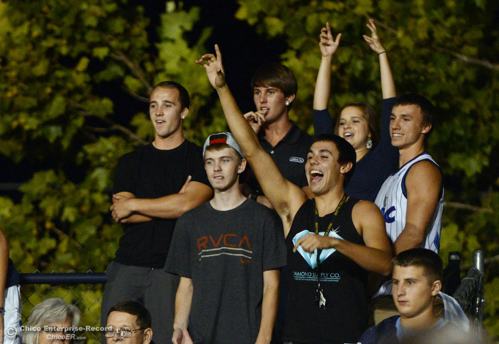 Description of . Pleasant Valley High fans scream for prizes against Lassen High in the fourth quarter of their football game at PVHS Asgard Yard Friday, September 6, 2013 in Chico, Calif. (Jason Halley/Chico Enterprise-Record)