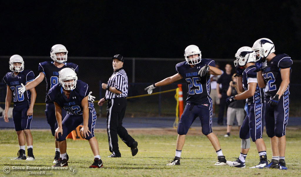 Description of . Pleasant Valley High readies against Lassen High in the second quarter of their football game at PVHS Asgard Yard Friday, September 6, 2013 in Chico, Calif. (Jason Halley/Chico Enterprise-Record)
