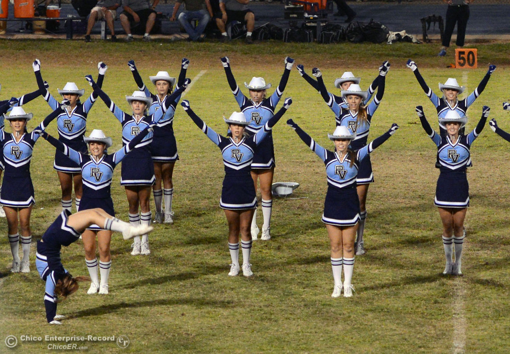 Description of . Pleasant Valley High cheerleaders dance their halftime routine against Lassen High during their football game at PVHS Asgard Yard Friday, September 6, 2013 in Chico, Calif. (Jason Halley/Chico Enterprise-Record)