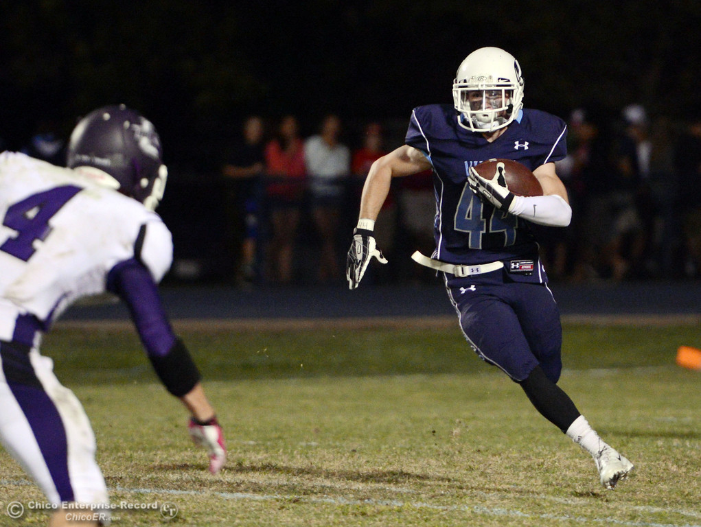 Description of . Pleasant Valley High\'s #44 Cyland Leitner rushes against Oroville High in the fourth quarter of their football game at PVHS Asgard Yard Friday, September 20, 2013, in Chico, Calif. (Jason Halley/Chico Enterprise-Record)