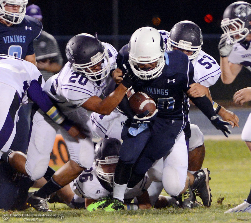 Description of . Pleasant Valley High against Oroville High in the first quarter of their football game at PVHS Asgard Yard Friday, September 20, 2013, in Chico, Calif. (Jason Halley/Chico Enterprise-Record)
