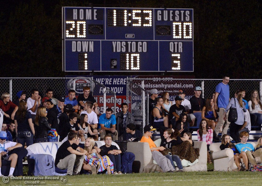 Description of . Pleasant Valley High fans in couches watch against Oroville High in the third quarter of their football game at PVHS Asgard Yard Friday, September 20, 2013, in Chico, Calif. (Jason Halley/Chico Enterprise-Record)