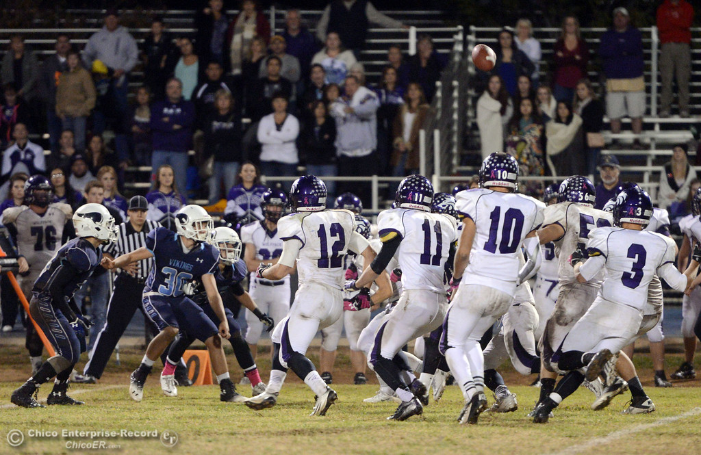 Description of . Pleasant Valley High recovers an on side kick against Shasta High in the fourth quarter of their football game at PVHS Asgard Yard Friday, October 18, 2013 in Chico, Calif.  (Jason Halley/Chico Enterprise-Record)