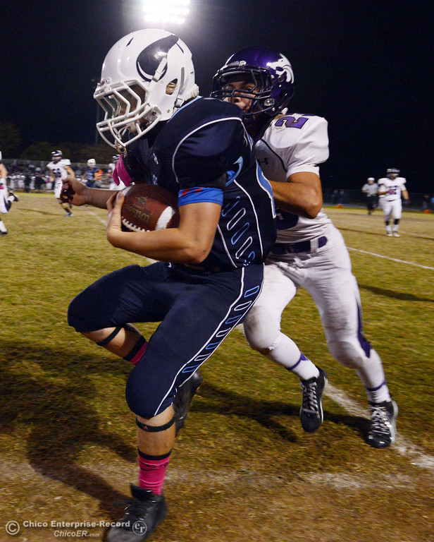 Description of . Pleasant Valley High\'s #28 Dylan Batie (left) is pushed out of bounds against Shasta High\'s #23 Ryan Pallato (right) in the second quarter of their football game at PVHS Asgard Yard Friday, October 18, 2013 in Chico, Calif.  (Jason Halley/Chico Enterprise-Record)