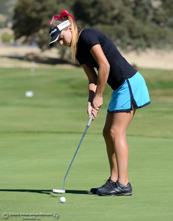 Description of . Pleasant Valley's Julia Peters plays in the EAL girls golf match at Bidwell Golf Course Thursday, October 3, 2013, in Chico, Calif.  (Jason Halley/Chico Enterprise-Record)