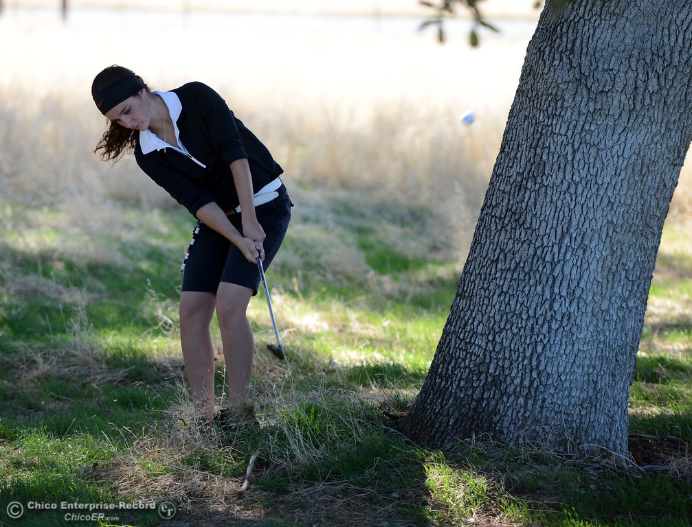 Description of . Chico High's Lexi Towner plays in the EAL girls golf match at Bidwell Golf Course Thursday, October 3, 2013, in Chico, Calif.  (Jason Halley/Chico Enterprise-Record)