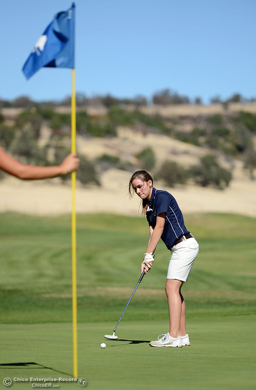 Description of . Pleasant Valley High's Alison Jacobson plays in the EAL girls golf match at Bidwell Golf Course Thursday, October 3, 2013, in Chico, Calif.  (Jason Halley/Chico Enterprise-Record)