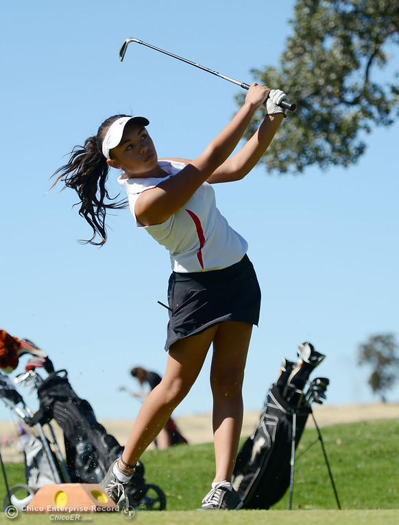 Description of . Chico High's Nicole Dempsey plays in the EAL girls golf match at Bidwell Golf Course Thursday, October 3, 2013, in Chico, Calif.  (Jason Halley/Chico Enterprise-Record)