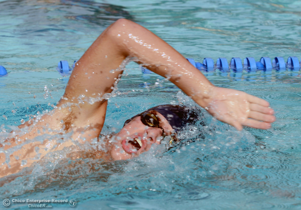 . Pleasant Valley HIgh\'s Zach Bettner swims the 200m freestyle against Chico High in their swim meet at InMotion Fitness Wednesday, October 16, 2013 in Chico, Calif.  (Jason Halley/Chico Enterprise-Record)