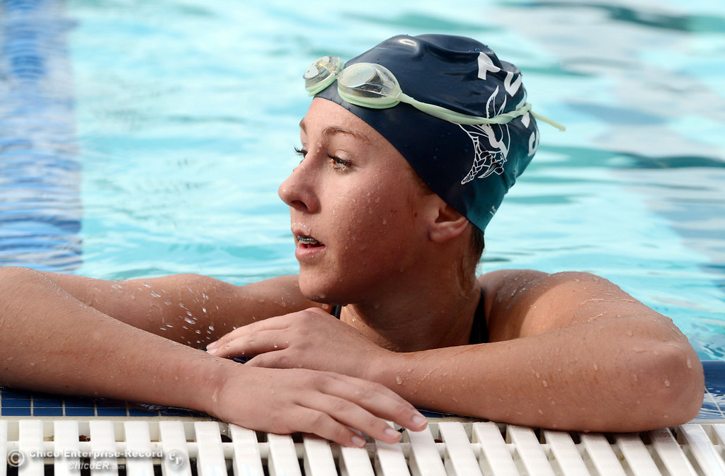 Description of . Pleasant Valley HIgh\'s Keely Johnson won the 200m freestyle against Chico High in their swim meet at InMotion Fitness Wednesday, October 16, 2013 in Chico, Calif.  (Jason Halley/Chico Enterprise-Record)