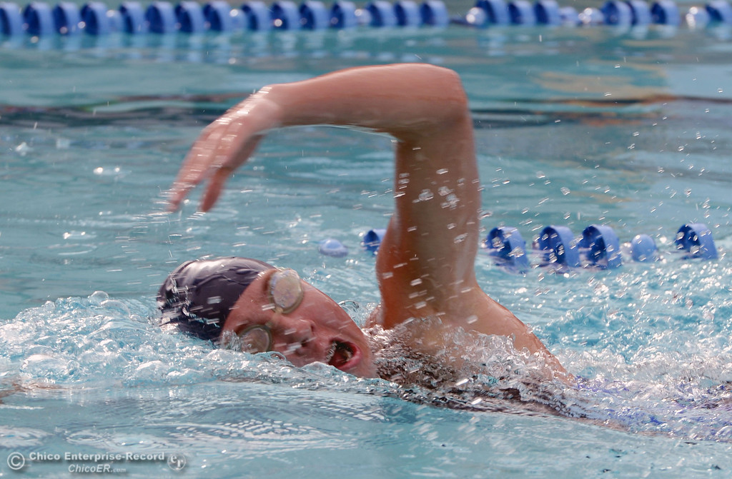 . Pleasant Valley HIgh\'s Keely Johnson swims the 200m freestyle against Chico High in their swim meet at InMotion Fitness Wednesday, October 16, 2013 in Chico, Calif.  (Jason Halley/Chico Enterprise-Record)