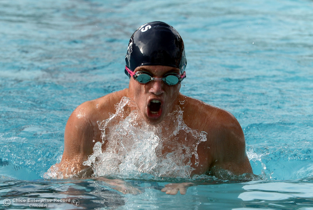 Description of . Pleasant Valley HIgh\'s Ben Sanders swims the breast stroke in the 200 IM against Chico High in their swim meet at InMotion Fitness Wednesday, October 16, 2013 in Chico, Calif.  (Jason Halley/Chico Enterprise-Record)