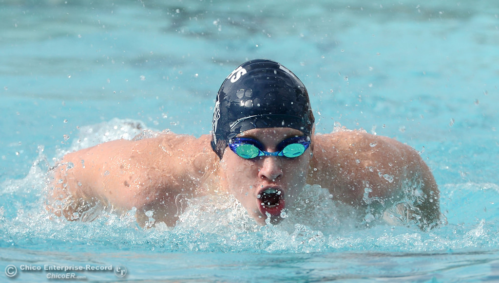Description of . Chico High against Pleasant Valley HIgh in their swim meet at InMotion Fitness Wednesday, October 16, 2013 in Chico, Calif.  (Jason Halley/Chico Enterprise-Record)