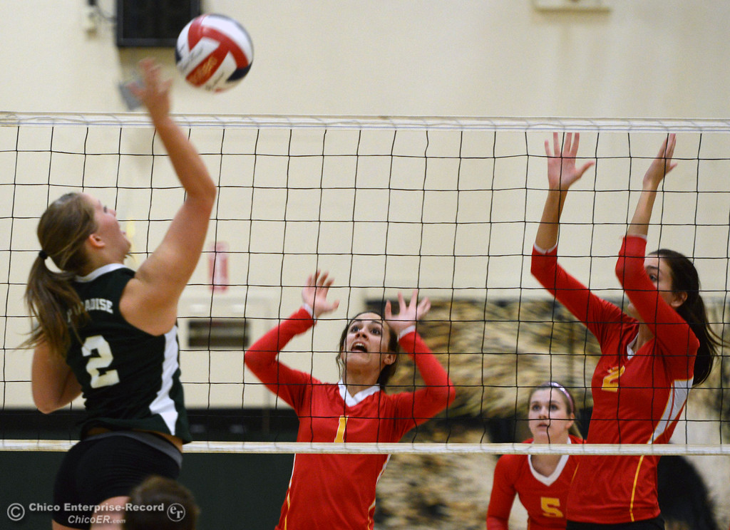 Description of . Paradise High\'s #2 Bailey Bengson (left) spikes the ball against Chico High\'s #1 Cia Seibert (center) and #2 Sydney Gaskey (right) in the second game of their girls volleyball match at PHS Thursday, October 10, 2013 in Paradise, Calif.  (Jason Halley/Chico Enterprise-Record)