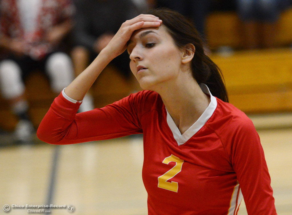 Description of . Chico High's #2 Sydney Gaskey wipes her brow against Paradise High in the second game of their girls volleyball match at PHS Thursday, October 10, 2013 in Paradise, Calif.  (Jason Halley/Chico Enterprise-Record)