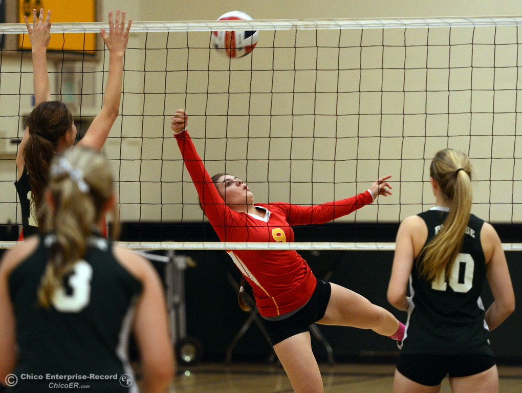 Description of . Chico High's #9 Tiffani Kelly (center) lays out for a hit against Paradise High in the second game of their girls volleyball match at PHS Thursday, October 10, 2013 in Paradise, Calif.  (Jason Halley/Chico Enterprise-Record)