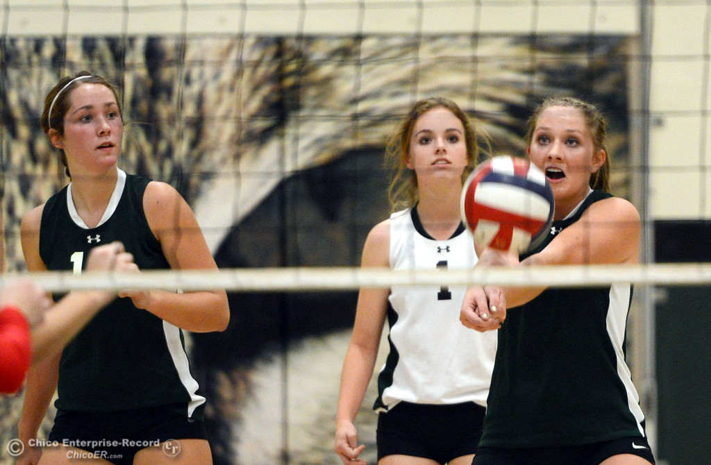 Description of . Paradise High's #2 Baily Bengson bumps against Chico High in the first game of their girls volleyball match at PHS Thursday, October 10, 2013 in Paradise, Calif.  (Jason Halley/Chico Enterprise-Record)