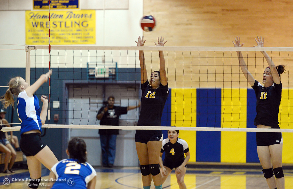 Description of . Hamilton High's #1 Nicole Gordon (left) spikes against Gridley High's #12  Lauren Solis (center) and #11 Elizabeth Osbourn (right) in their second game of their volleyball match Thursday, August 29, 2013 in Chico, Calif.  (Jason Halley/Chico Enterprise-Record)