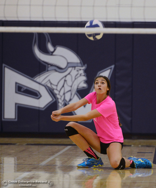 "Description of . Pleasant Valley High\'s #2 Lily Justine takes a dig against Paradise High in the second game of their volleyball match at PVHS Varley Gym Thursday, October 17, 2013 in Chico, Calif. PV volleyball wore pink instead of blue vs Paradise at ""Fight Like a Viking Night,\"" to raise money for cancer research. (Jason Halley/Chico Enterprise-Record)"