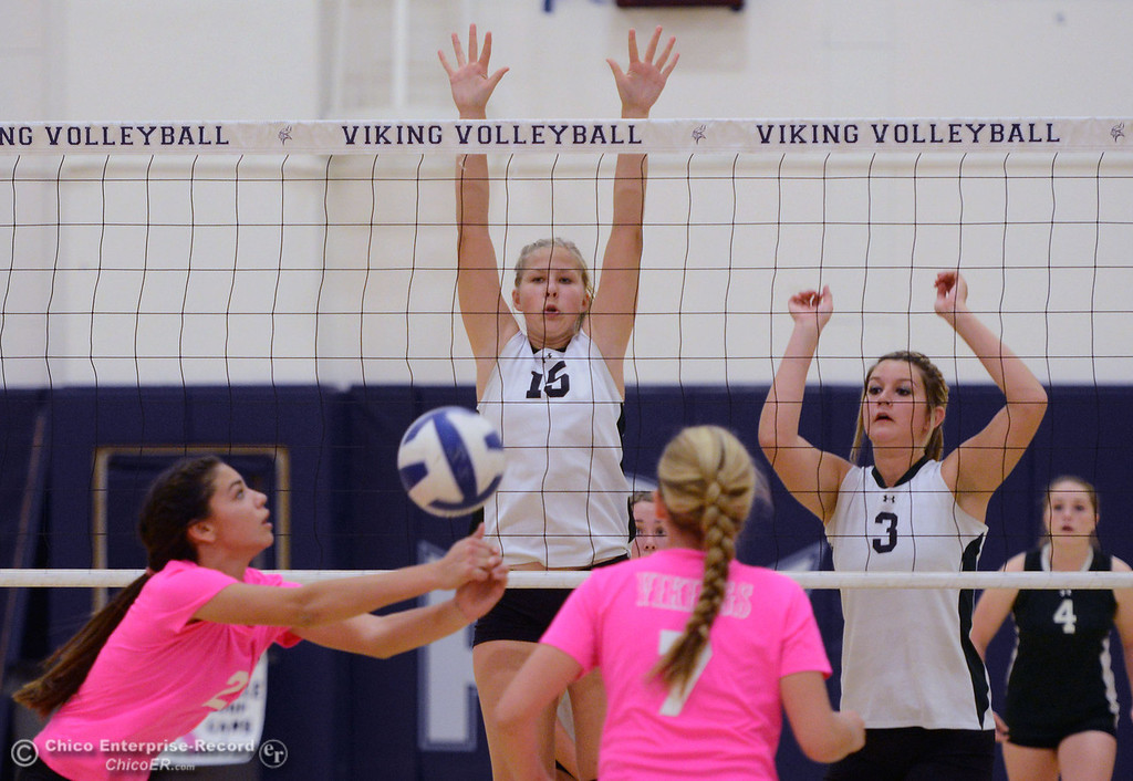 "Description of . Pleasant Valley High\'s #2 Lily Justine (left) bumps the ball against Paradise High\'s #15 Emilee Heinke (center) and #3 Kelsi Earhart (right) in the first game of their volleyball match at PVHS Varley Gym Thursday, October 17, 2013 in Chico, Calif. PV volleyball wore pink instead of blue vs Paradise at ""Fight Like a Viking Night,\"" to raise money for cancer research. (Jason Halley/Chico Enterprise-Record)"