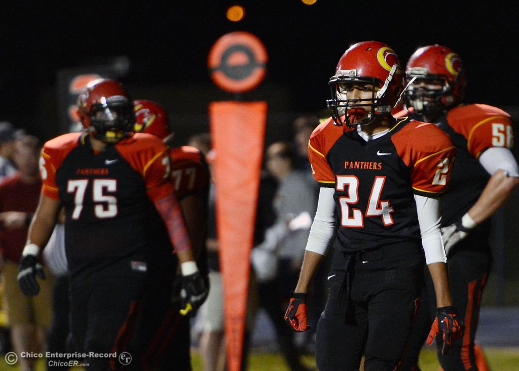 . Chico High\'s #24 Zohaab Khan looks on against Central Valley High in the first quarter of their football game at Asgard Yard Friday, September 27, 2013, in Chico, Calif.  (Jason Halley/Chico Enterprise-Record)