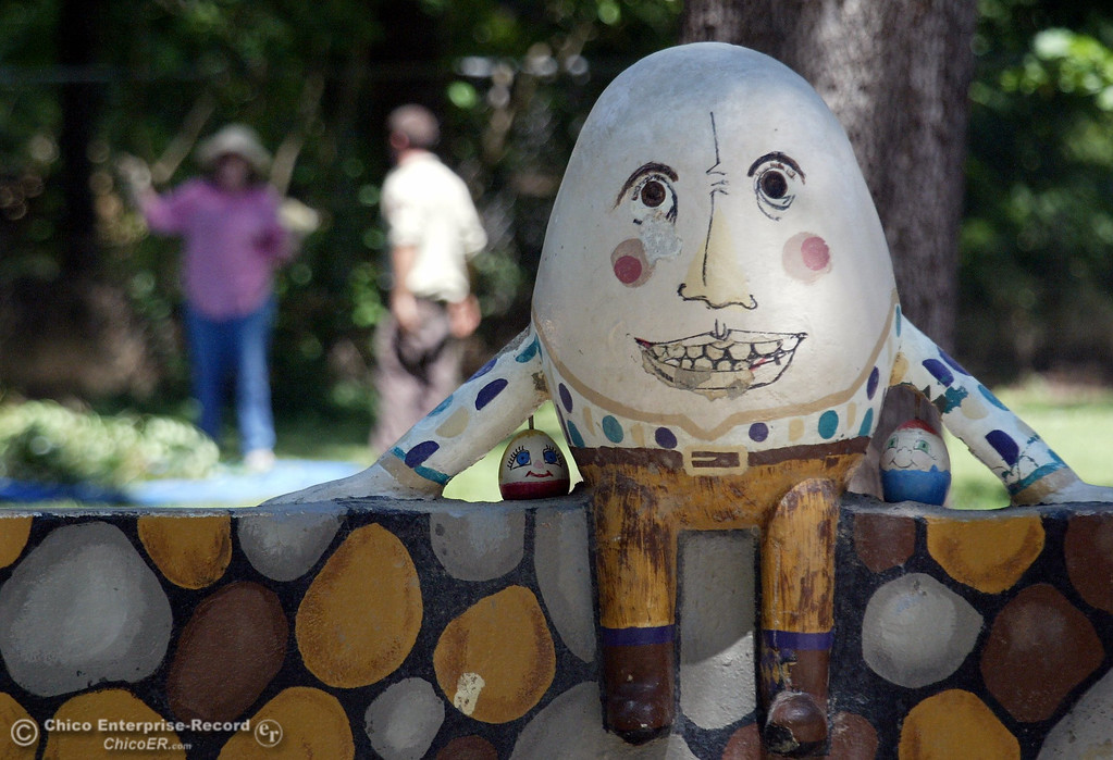 . Humpty Dumpty sits on the wall while nearly 200 Upward Bound students and volunteers removed invasive weeds from around Caper Acres in lower Bidwell Park in this file photo from July 2006. (Bill Husa/Chico Enterprise-Record file photo)