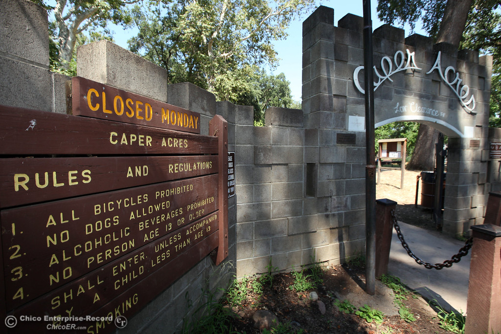 . The front gate at Caper Acres in this file photo from July 2013 in Chico, Calif. The city\'s budget is going to be closing the park on Monday through Thursday. (Jason Halley/Chico Enterprise-Record)