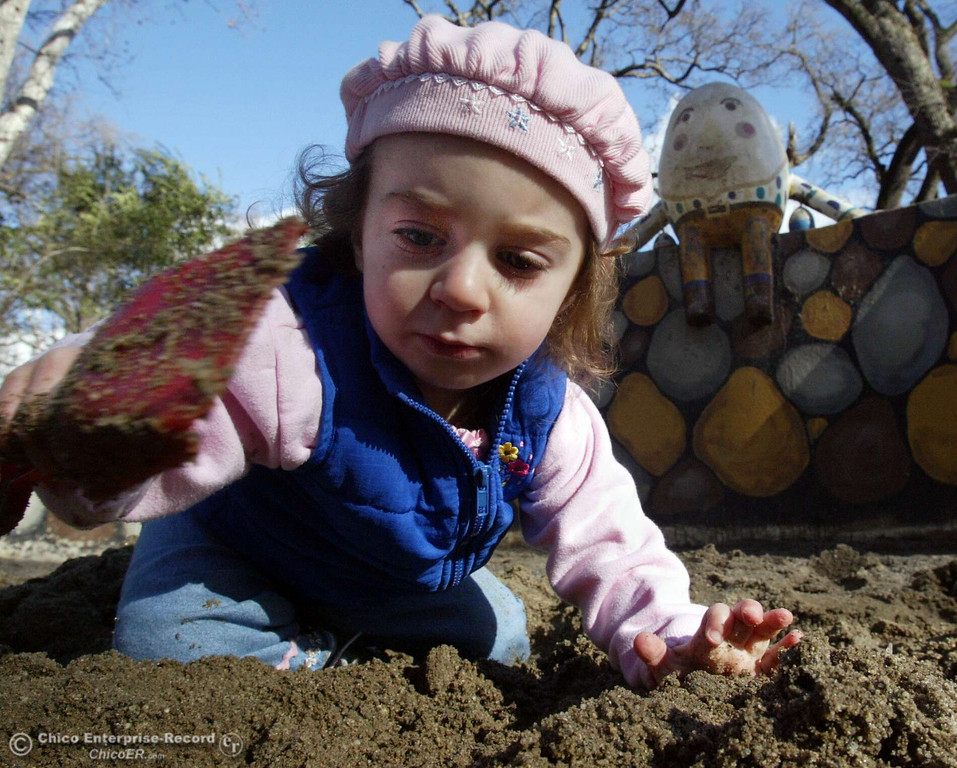 . Mia Rappaport plays in the sand box next to Humpty Dumpty at Caper Acres in this file photo from January 2005. (Ty Barbour/Chico Enteprise-Record file photo)