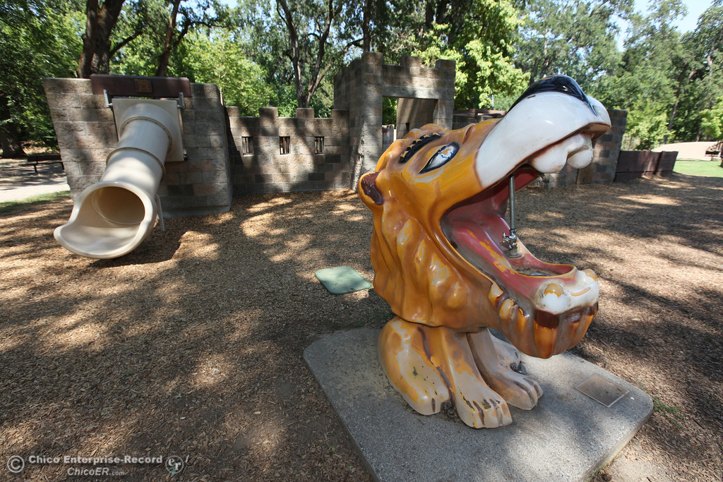 . The lion fountain at Caper Acres in this file photo from July 2013 in Chico, Calif. The city\'s budget is going to be closing the park on Monday through Thursday. (Jason Halley/Chico Enterprise-Record)