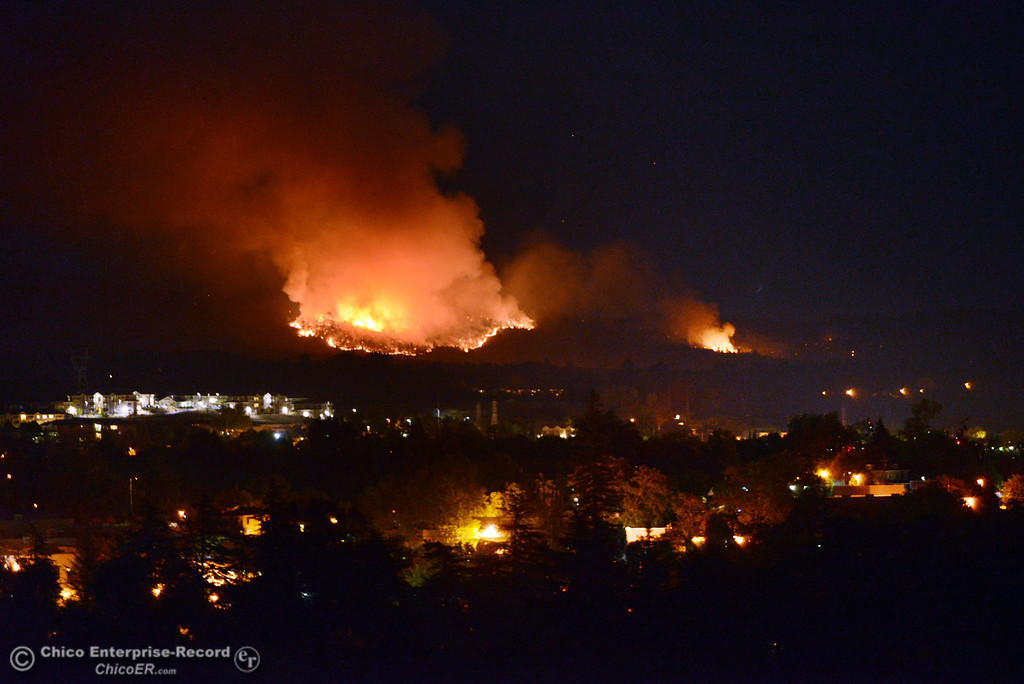 . The Swedes Fire burns into the night as seen from Oro View Drive Friday, August 16, 2013 in Oroville, Calif. Over 200 acres were burned with at least one structure lost. (Jason Halley/Chico Enterprise-Record)