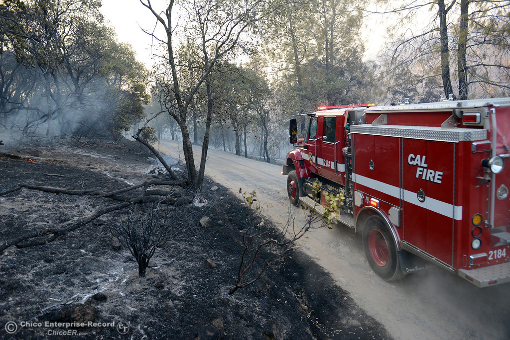 . Cal Fire firefighters make their way along Chinese Wall Road toward the Swedes Fire that burned in the vicinity of Swedes Flat Road, just east or Oro Bangor Highway Friday, August 16, 2013 in Oroville, Calif. Over 200 acres were burned with at least one structure lost. (Jason Halley/Chico Enterprise-Record)