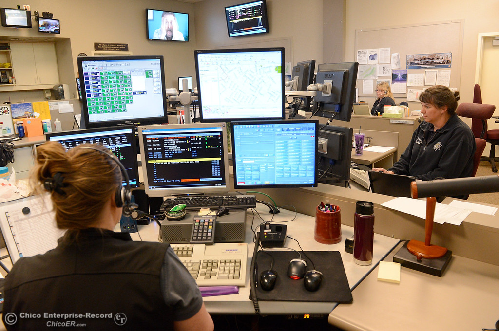 . Public Safety dispatchers Tovi Brown, Rochelle Finkbiner, and Sheri Marshall leftt to right, work in the Chico Police and Fire Dispatch Center located at the Chico Police Dept. in Chico, Calif. Wed. April 16, 2014. Being a dispatcher is a stressful job. They\'re the people who take all of the 911 calls, coordinate assistance to people who call, keep the officers safe and oversee how the Cico Police Department operates. (Bill Husa - Enterprise-Record)