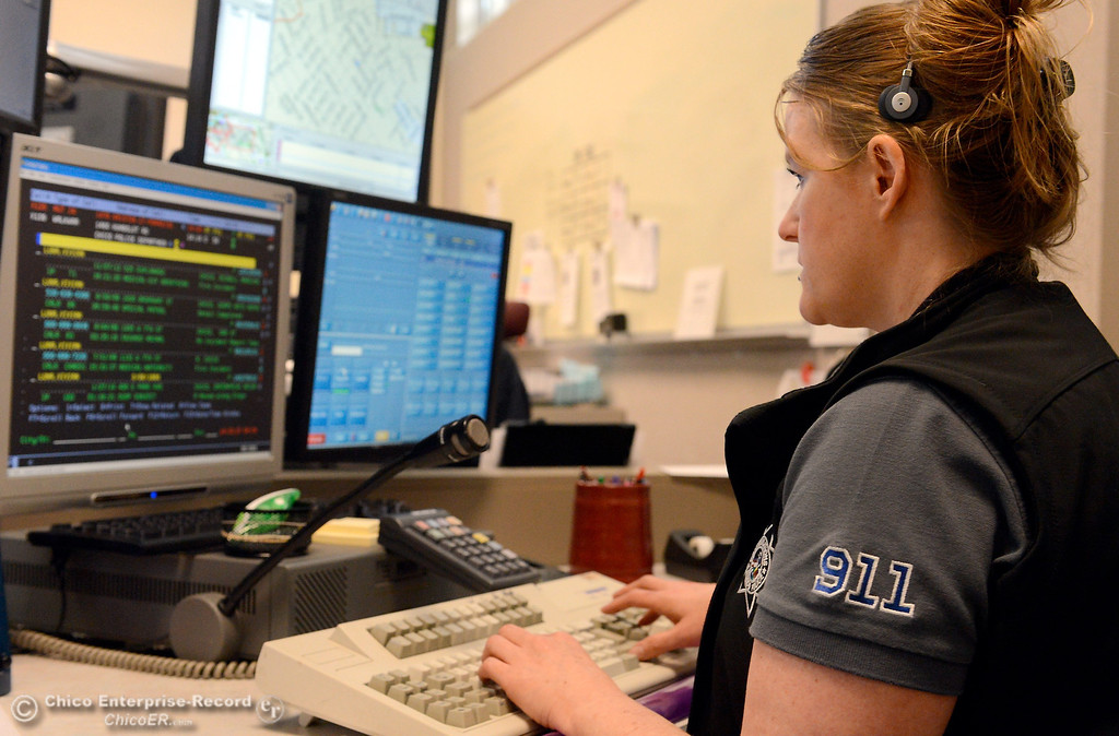 . Public Safety dispatcher Tovi Brown works in the Chico Police and Fire Dispatch Center located at the Chico Police Dept. in Chico, Calif. Wed. April 16, 2014. Being a dispatcher is a stressful job. They\'re the people who take all of the 911 calls, coordinate assistance to people who call, keep the officers safe and oversee how the Cico Police Department operates. (Bill Husa - Enterprise-Record)