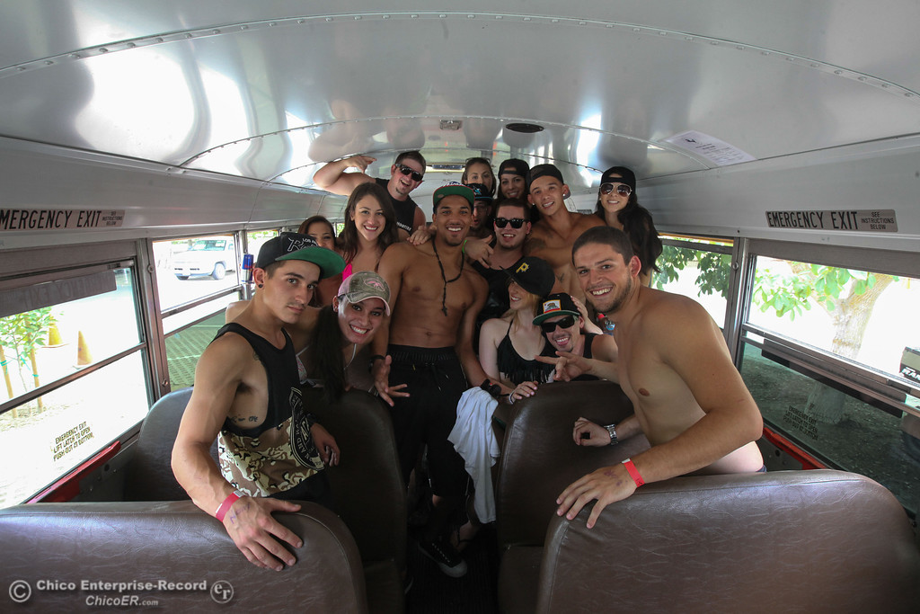 . Floaters pose for a photo in the shuttle bus before participating on Labor Day weekend to float Sacramento River on Sunday, September 1, 2013. (Frank Rebelo/Staff Photo)