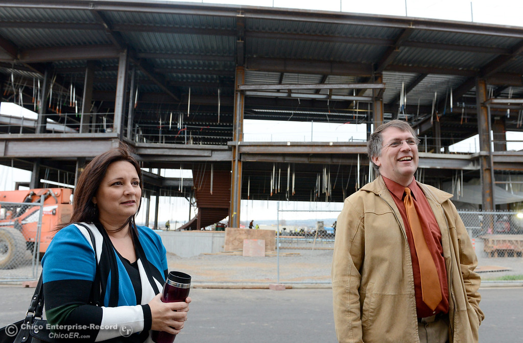 . Court Executive Officer Kimberly Flener and Assistant Court Executing Officer Rich Holst talk with a reporter during construction of the new North Butte County Courthouse located off of Bruce Road at 1701 Concord Ave. in Chico, Calif. Wednesday Jan. 29, 2014.  (Bill Husa/Staff Photo)