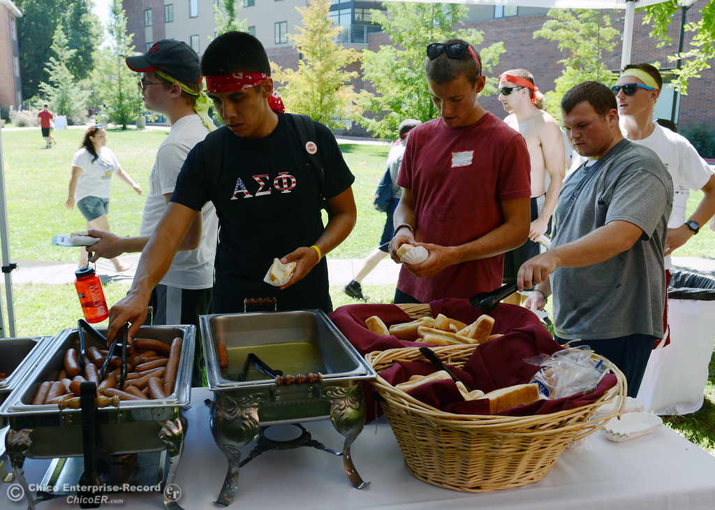 . Chico State students each lunch after they played games as alternative activities to floating on the Sacramento River for Labor Day at the Wildcat Challenge event on the lawn between Lassen Hall and Sutter Hall on the Chico State Campus Saturday, August 31, 2013 in Chico, Calif.  (Jason Halley/Chico Enterprise-Record)