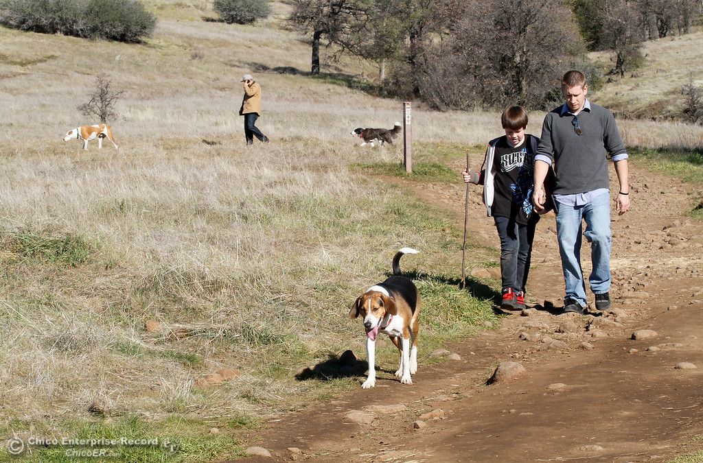 . Justing Stokes (right) of Paradise, enjoys a hike with Nathan Stokes, 10, in upper Bidwell Park on January 21, 2013. (Bill Husa/Chico Enterprise-Record)